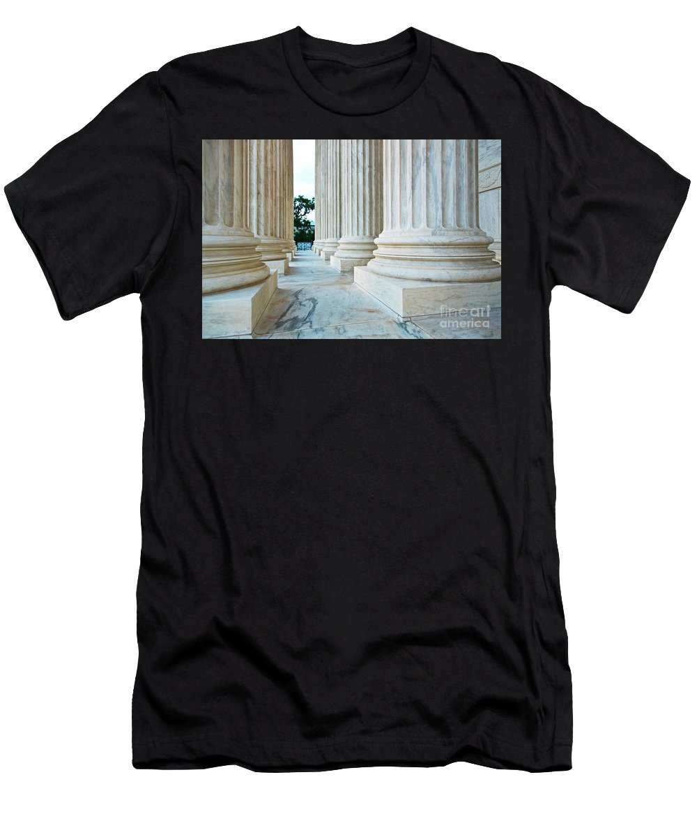 Column Men's T-Shirt (Athletic Fit) featuring the photograph Supreme Court Building Washington Dc by ELITE IMAGE photography By Chad McDermott