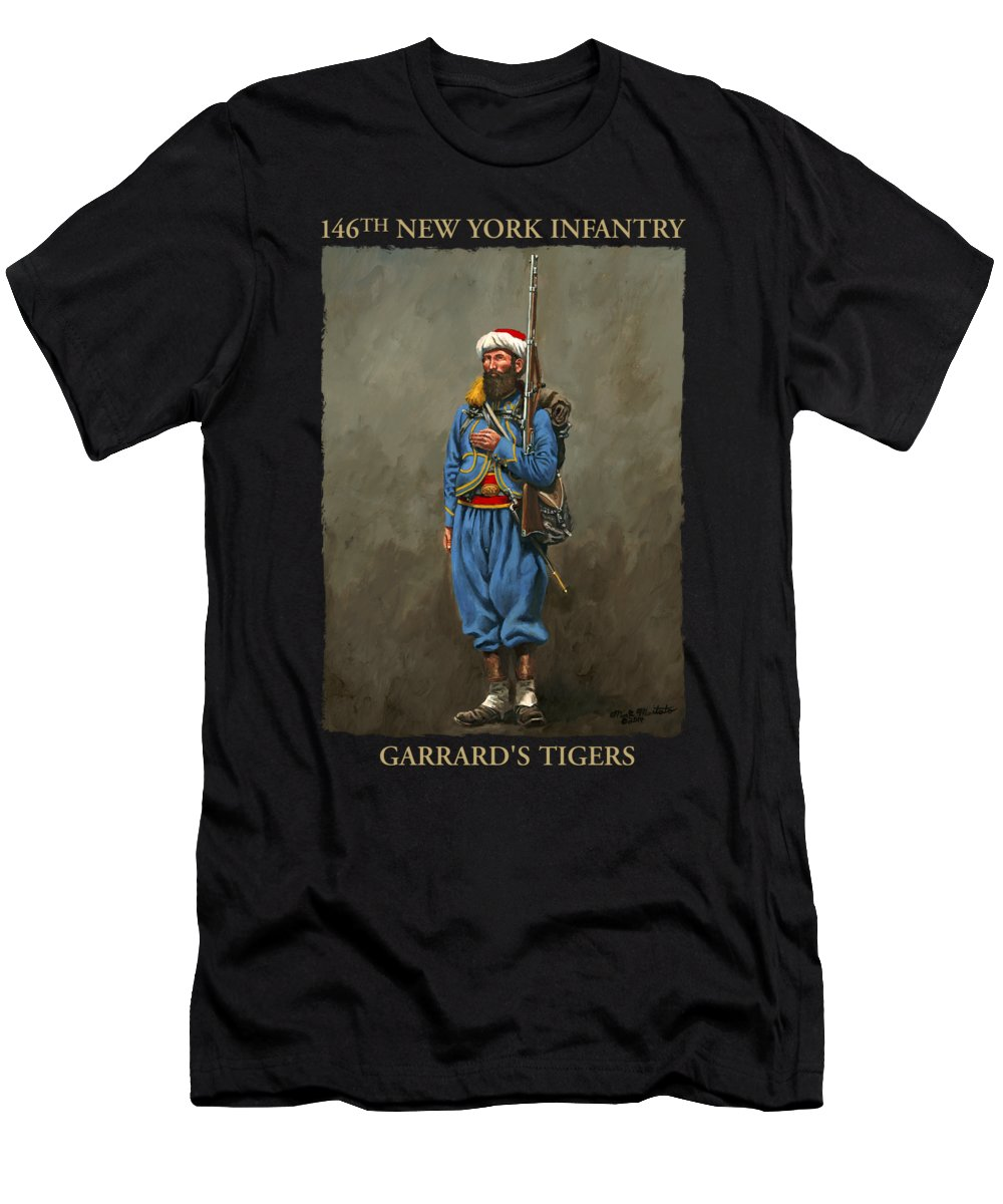 Maritato Men's T-Shirt (Athletic Fit) featuring the painting 146th New York Infantry - Garrard's Tigers by Mark Maritato