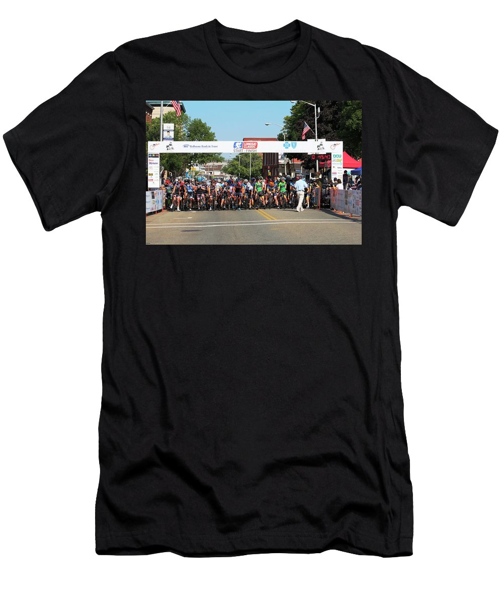 Cycle Racing Men's T-Shirt (Athletic Fit) featuring the photograph 2016 Longsjo Classic by Donn Ingemie