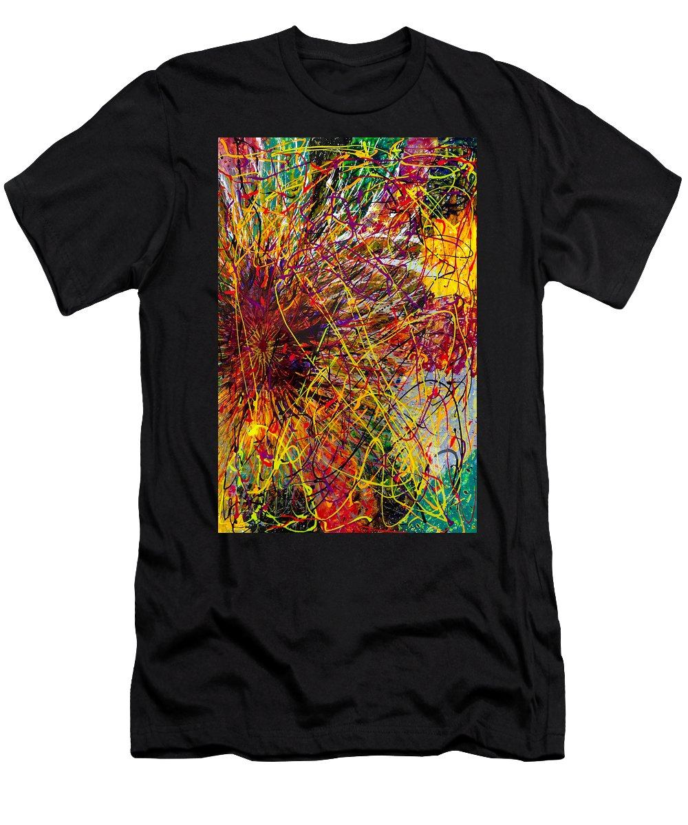 Abstract Men's T-Shirt (Athletic Fit) featuring the painting 16-10 String Burst by Patrick OLeary