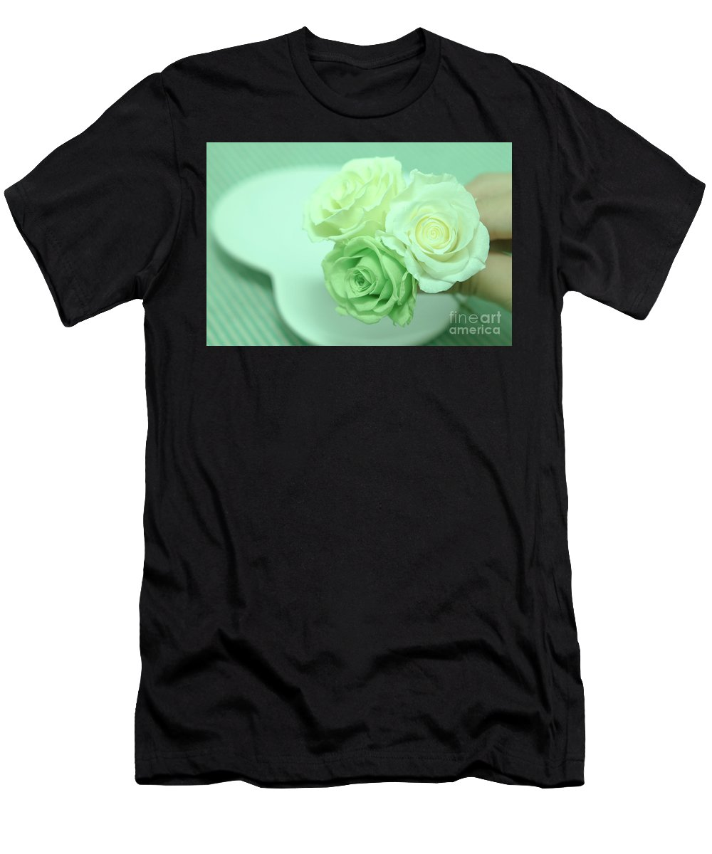 Anniversary Men's T-Shirt (Athletic Fit) featuring the photograph How To Make Preservrd Flower And Clay Flower Arrangement, Making by Eiko Tsuchiya
