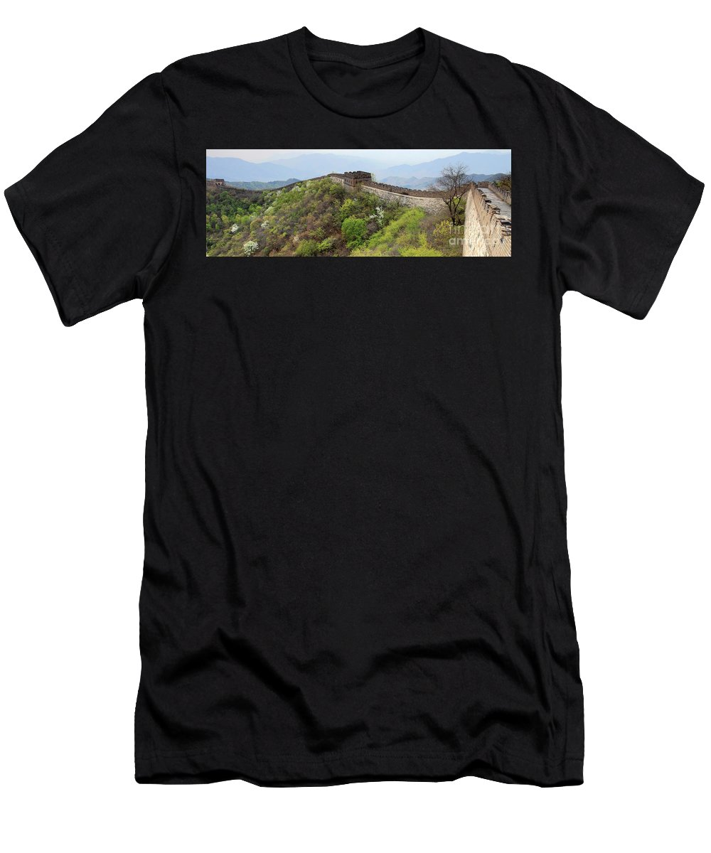 Mutianyu Valley Men's T-Shirt (Athletic Fit) featuring the photograph The Mutianyu Section Of The Great Wall Of China, Mutianyu Valley by Dave Porter