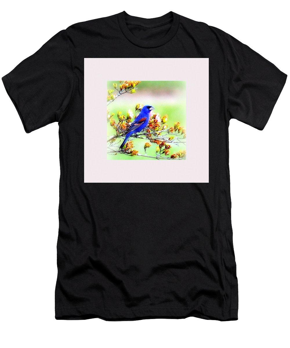 Blue Grosbeak Men's T-Shirt (Athletic Fit) featuring the photograph 1795 - Blue Grosbeak by Travis Truelove