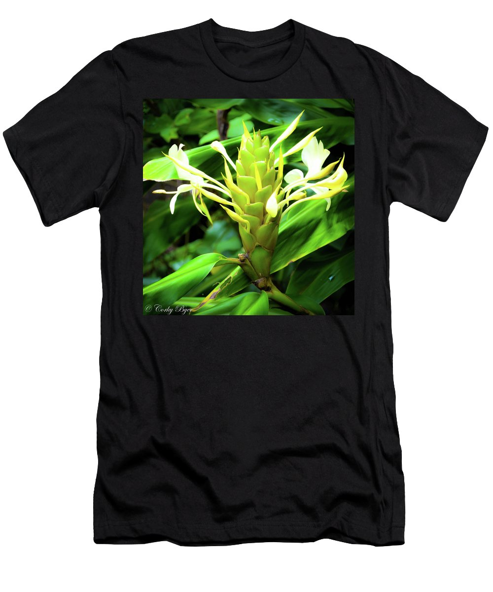 Flower Men's T-Shirt (Athletic Fit) featuring the photograph Yellow Ginger by Corky Byer