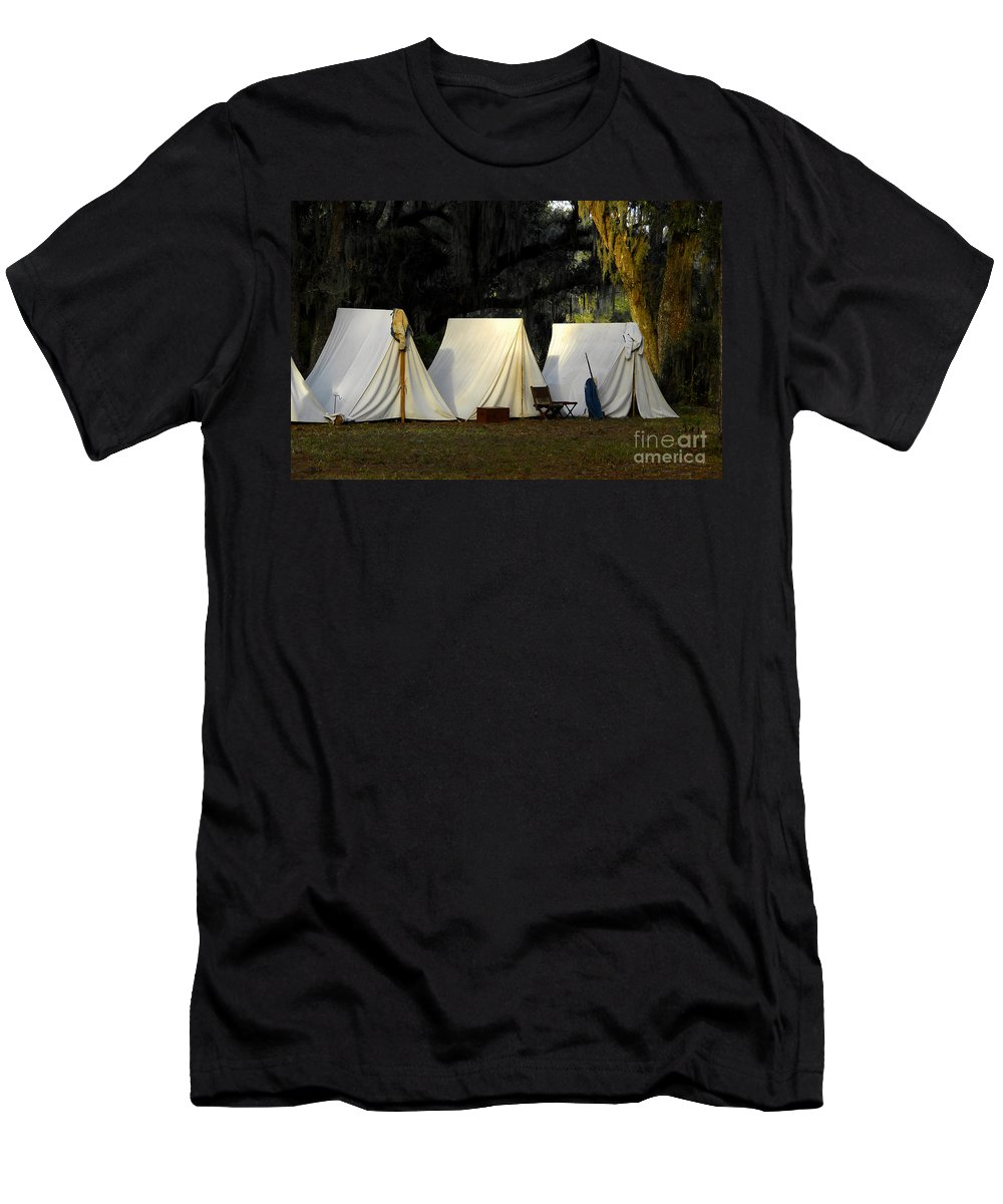 Army Tents Men's T-Shirt (Athletic Fit) featuring the photograph 1800s Army Tents by David Lee Thompson