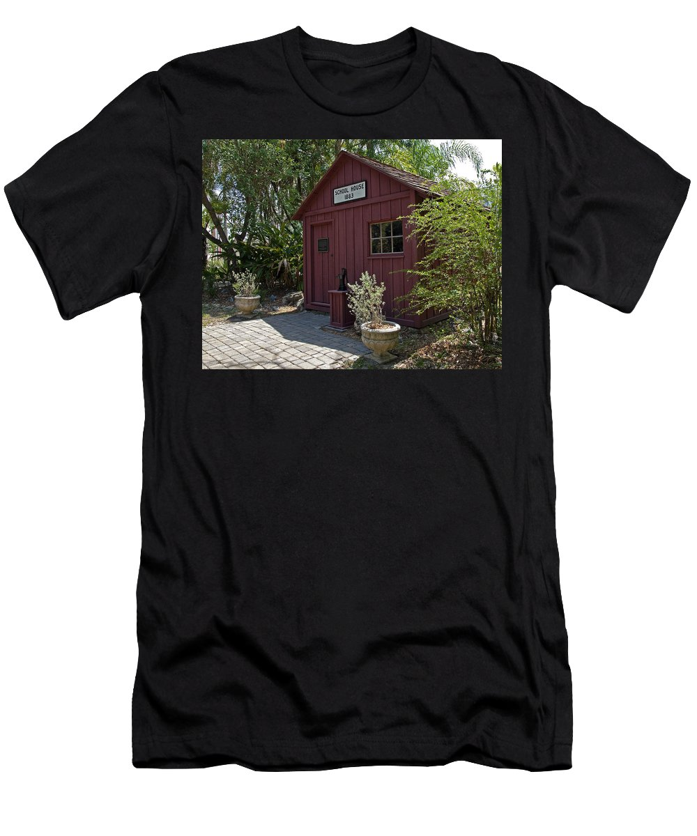Little Men's T-Shirt (Athletic Fit) featuring the photograph 1883 Little Red Schoolhouse by Allan Hughes