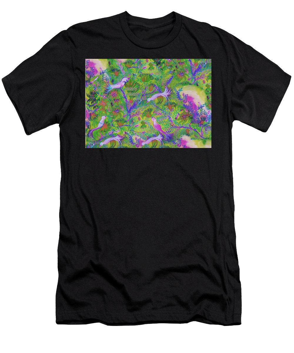 Flower Men's T-Shirt (Athletic Fit) featuring the digital art Birds Symphony by Sandrine Kespi