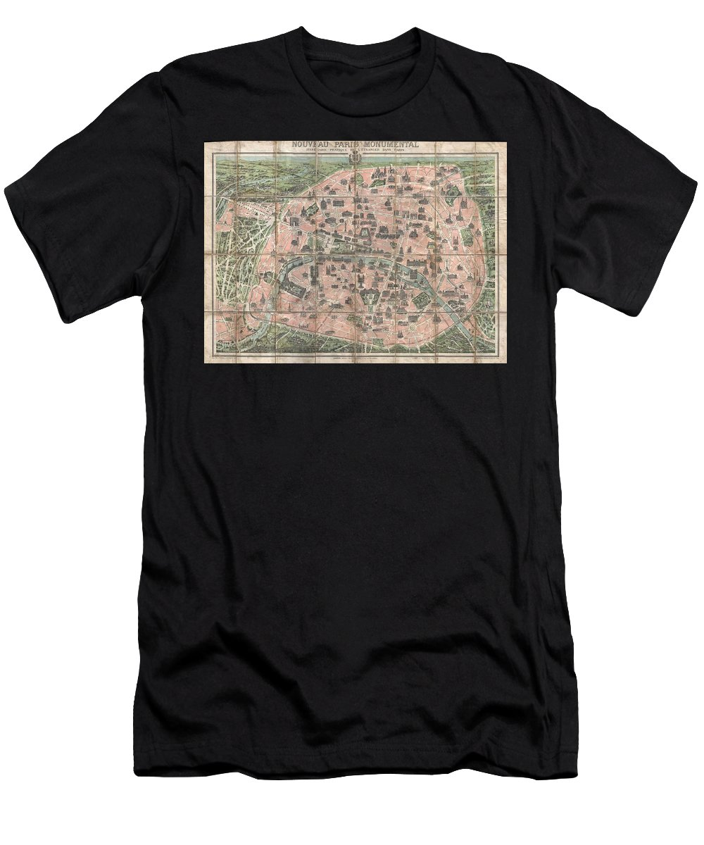 1900 Garnier Pocket Map Or Plan Of Paris Men's T-Shirt (Athletic Fit) featuring the photograph 1900 Garnier Pocket Map Or Plan Of Paris France Eiffel Tower And Other Monuments by Paul Fearn