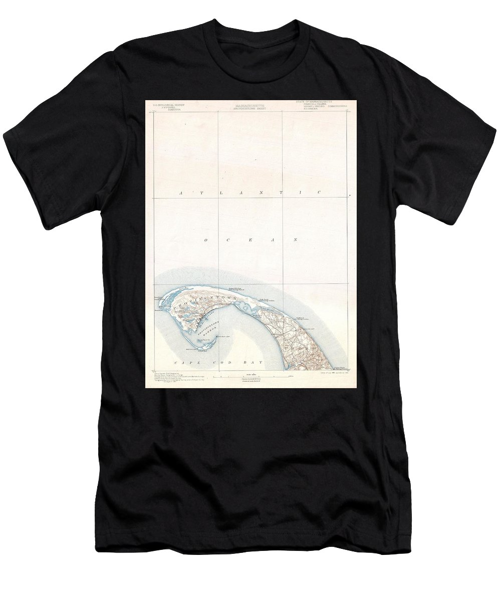 1900 U.s. Geological Survey Map Of Provincetown Men's T-Shirt (Athletic Fit) featuring the photograph 1900 Us Geological Survey Map Of Provincetown Cape Cod Massachusetts by Paul Fearn