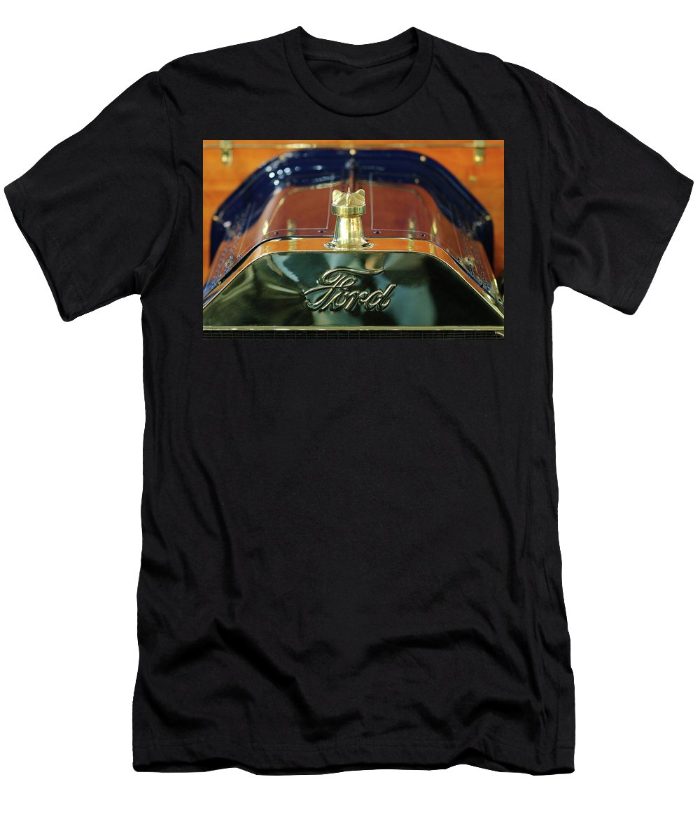 1911 Ford Model T Runabout Men's T-Shirt (Athletic Fit) featuring the photograph 1911 Ford Model T Runabout Hood Ornament by Jill Reger