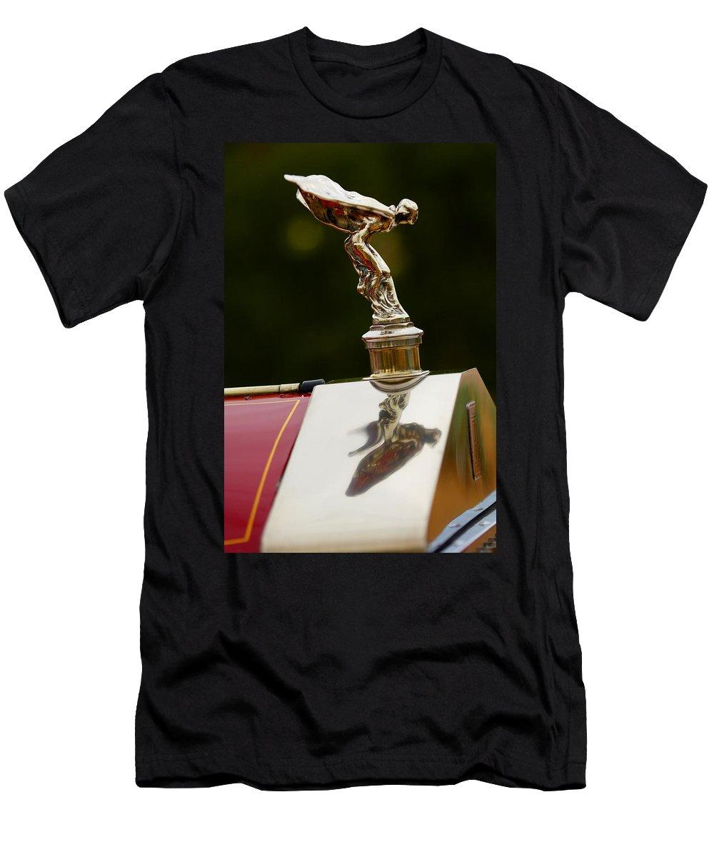 Classic Car Men's T-Shirt (Athletic Fit) featuring the photograph 1928 Rolls-royce Phantom 1 Hood Ornament by Jill Reger