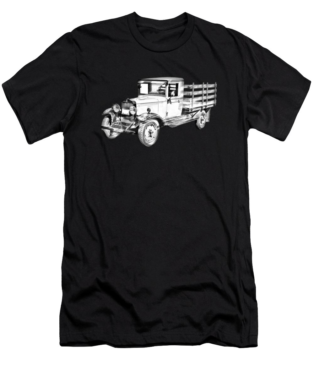1929 Men's T-Shirt (Athletic Fit) featuring the photograph 1929 Chevy Truck 1 Ton Stake Body Drawing by Keith Webber Jr