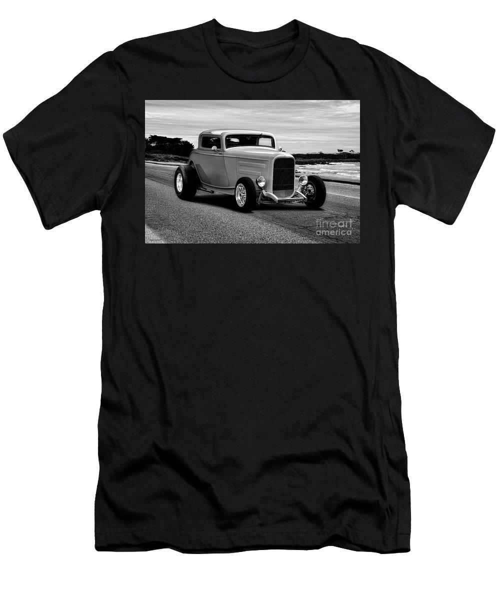 Auto Men's T-Shirt (Athletic Fit) featuring the photograph 1932 Ford Coupe 'black And White' by Dave Koontz