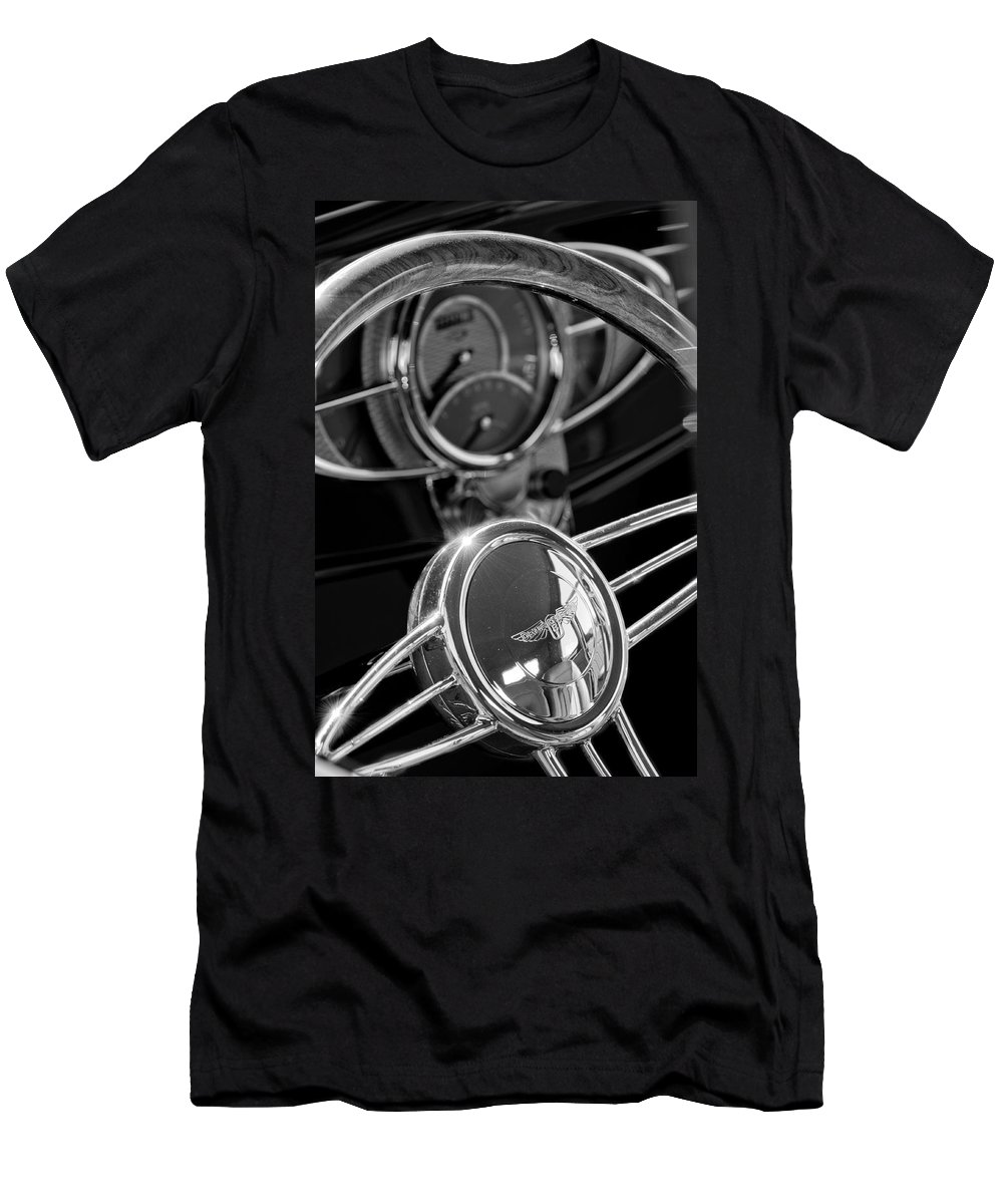 1932 Ford Men's T-Shirt (Athletic Fit) featuring the photograph 1932 Ford Hot Rod Steering Wheel 4 by Jill Reger