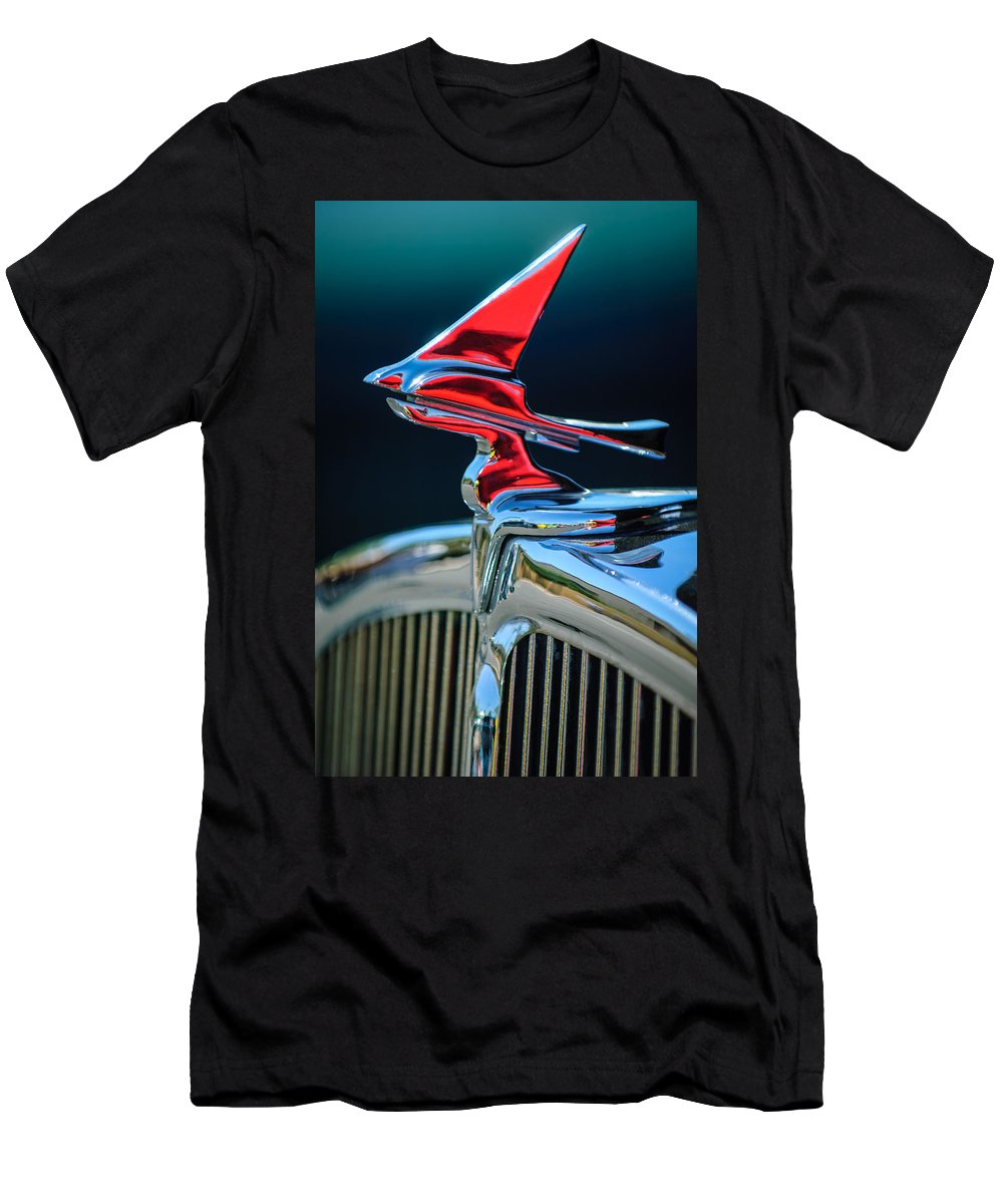 Car Men's T-Shirt (Athletic Fit) featuring the photograph 1933 Franklin Olympic Hood Ornament by Jill Reger