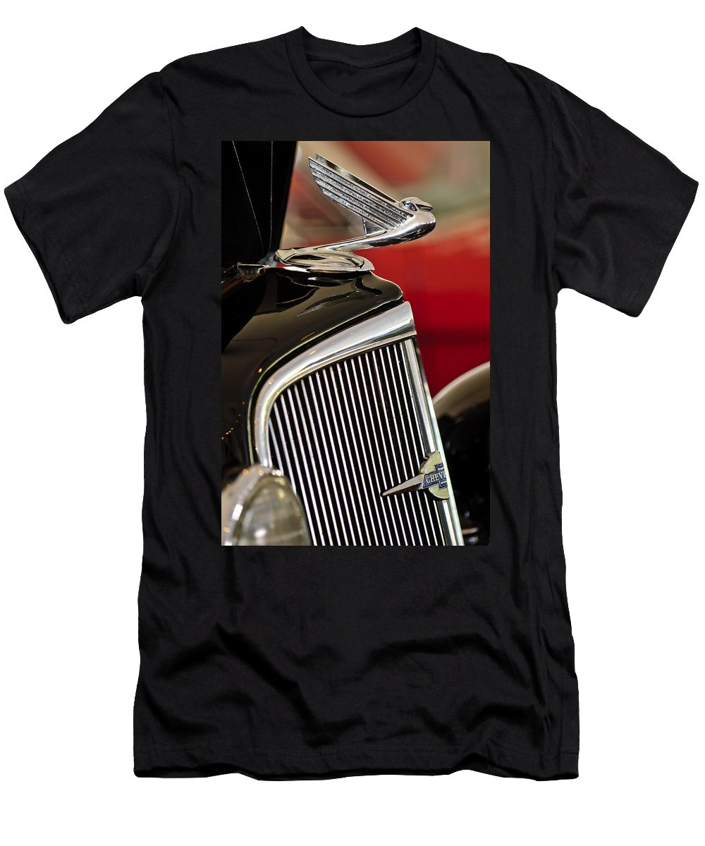 1935 Chevrolet Standard 3 Window Coupe Men's T-Shirt (Athletic Fit) featuring the photograph 1935 Chevrolet Optional Eagle Hood Ornament by Jill Reger