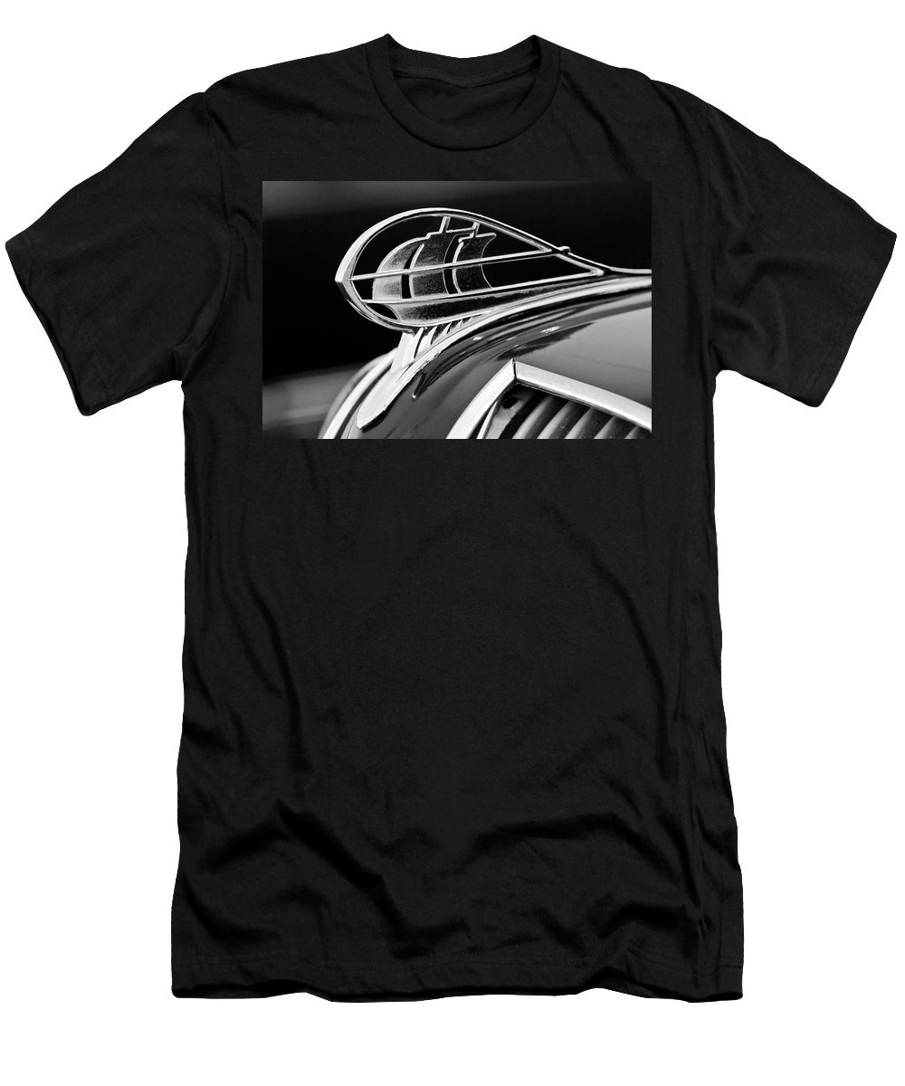 1936 Plymouth Sedan Men's T-Shirt (Athletic Fit) featuring the photograph 1936 Plymouth Sedan Hood Ornament 2 by Jill Reger
