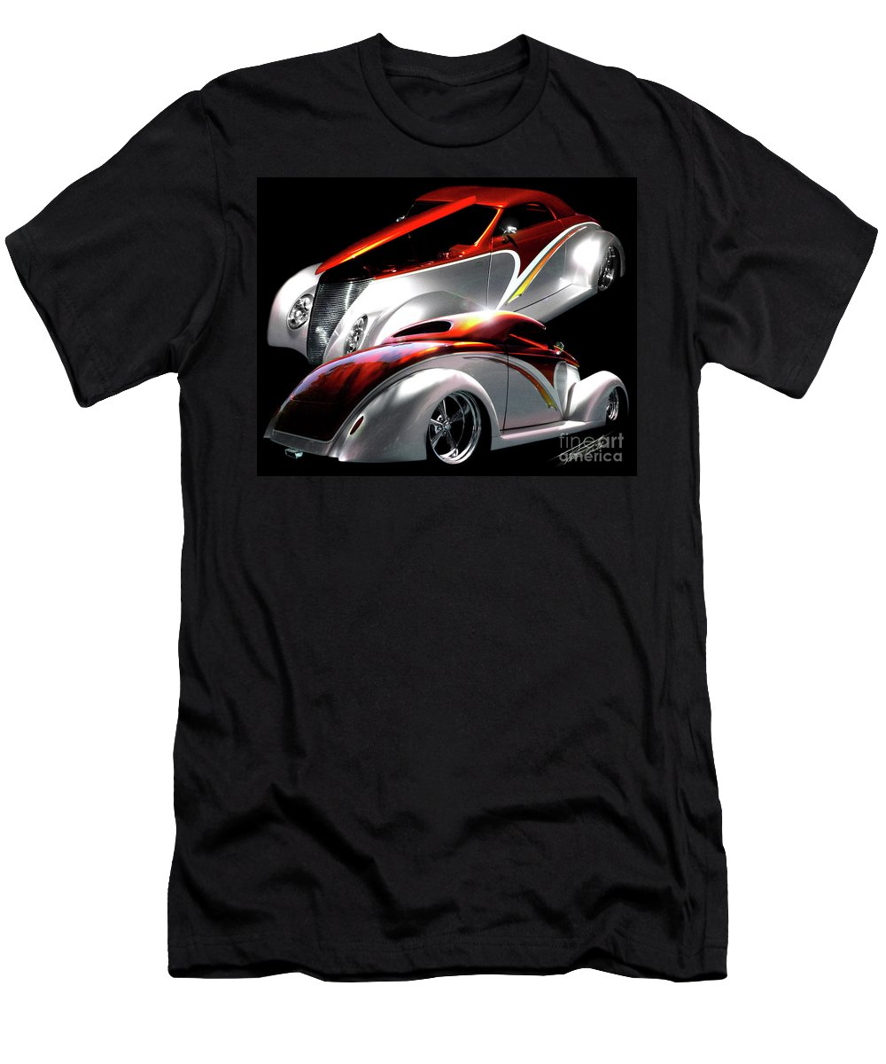 1937 Ford Coupe Men's T-Shirt (Athletic Fit) featuring the photograph 1936 Striped Coupe by Peter Piatt