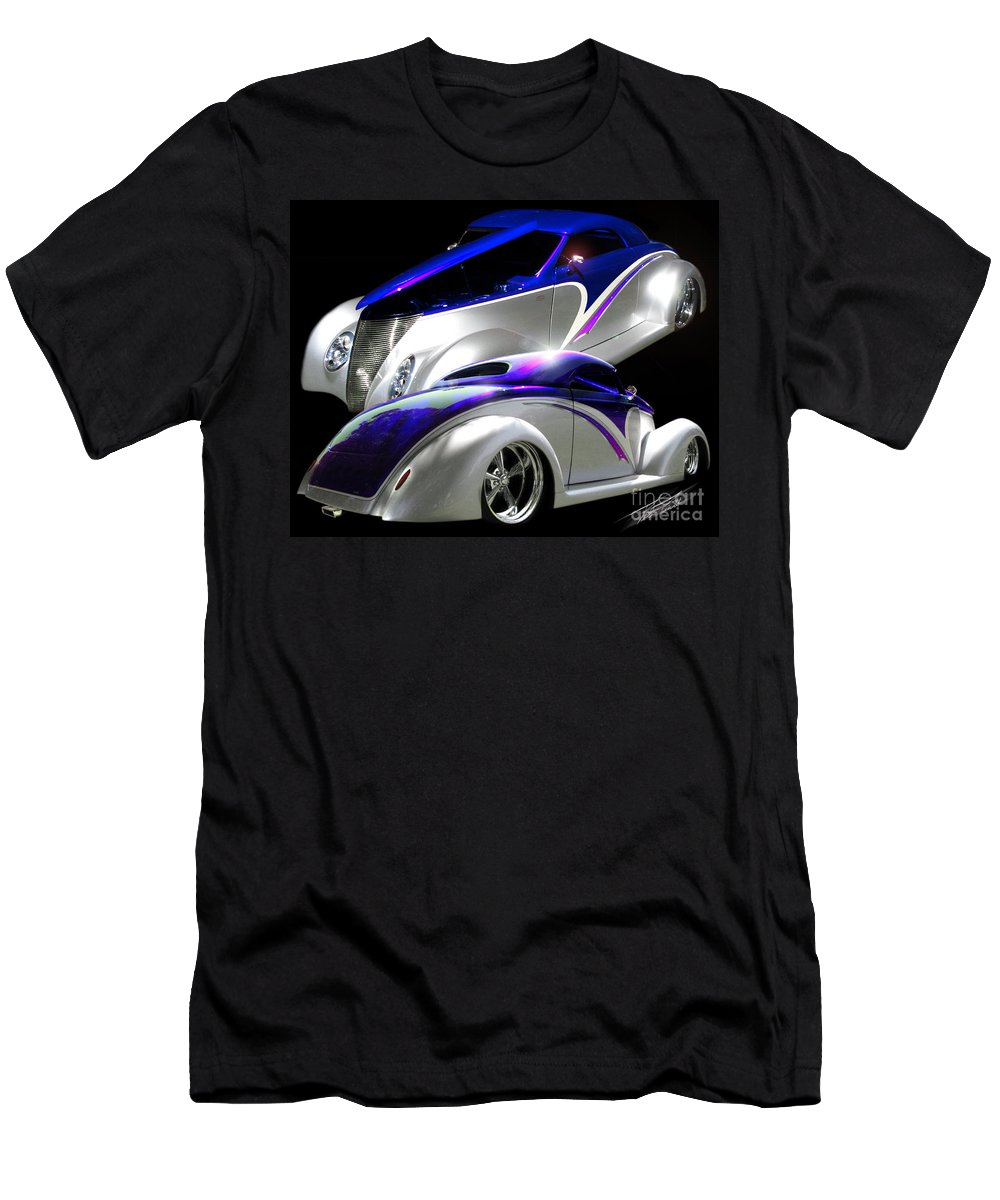 1937 Ford Coupe Men's T-Shirt (Athletic Fit) featuring the photograph 1937 Striped Coupe by Peter Piatt