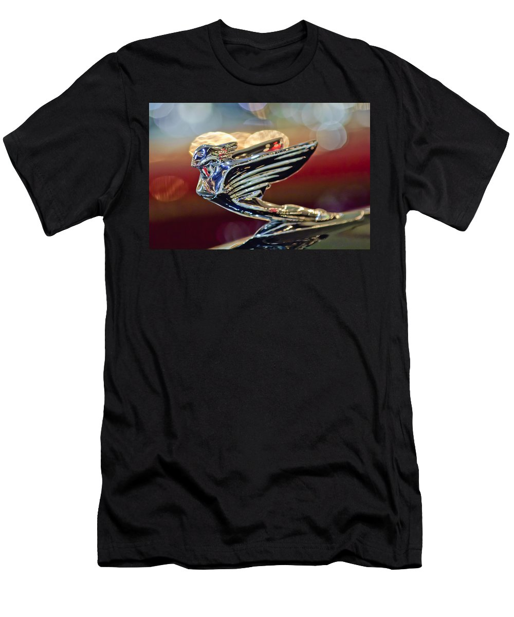 1938 Cadillac V-16 Convertible Sedan Men's T-Shirt (Athletic Fit) featuring the photograph 1938 Cadillac V-16 Sedan Hood Ornament by Jill Reger