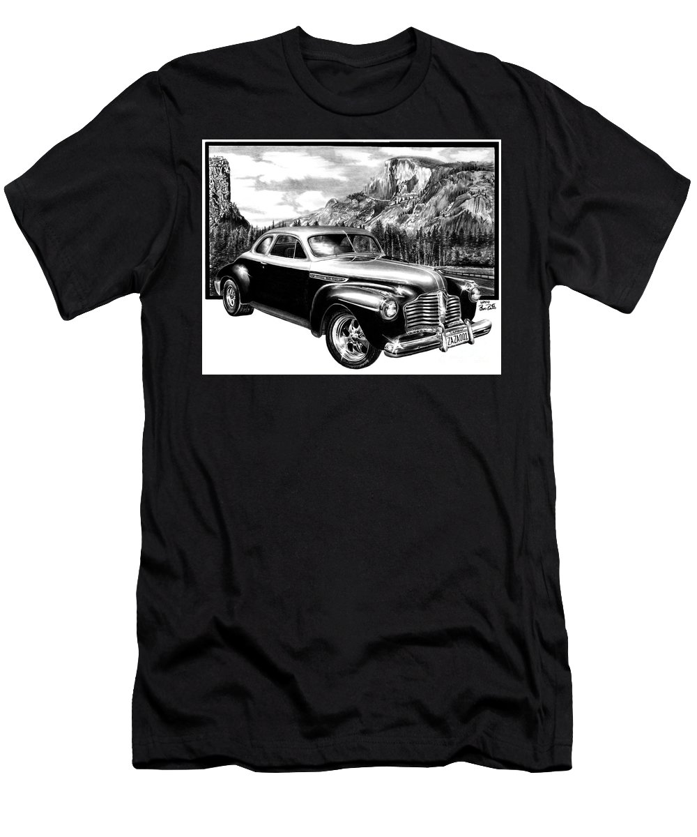 1941 Buick Roadmaster And Half Dome Men's T-Shirt (Athletic Fit) featuring the drawing 1941 Roadmaster - Half Dome by Peter Piatt