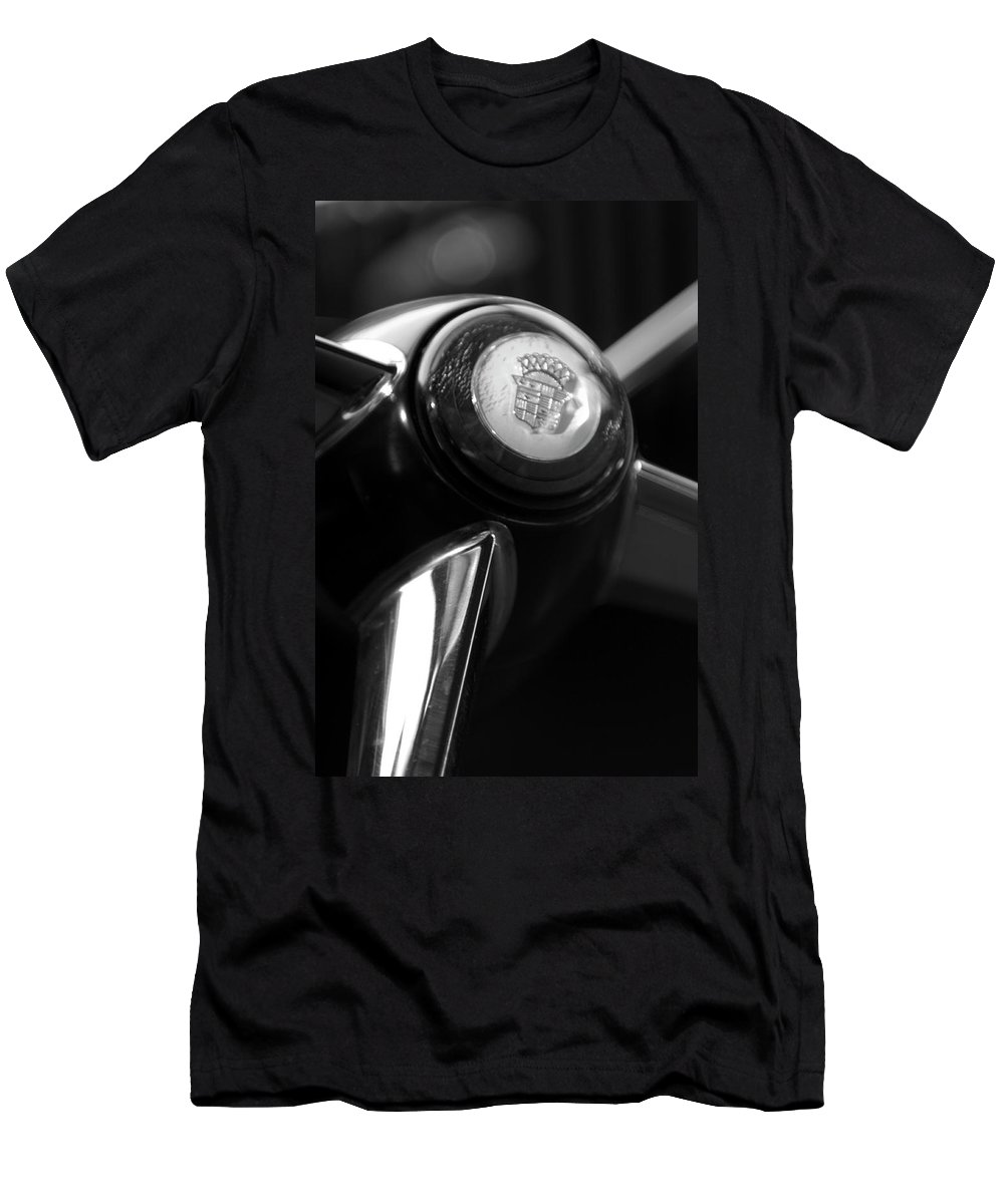 1947 Cadillac Men's T-Shirt (Athletic Fit) featuring the photograph 1947 Cadillac Steering Wheel by Jill Reger