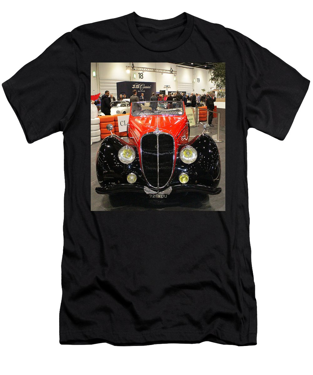 1947 Men's T-Shirt (Athletic Fit) featuring the photograph 1947 Delahaye 135m Letourner Et Marchand Cabriolet by Peter Lloyd