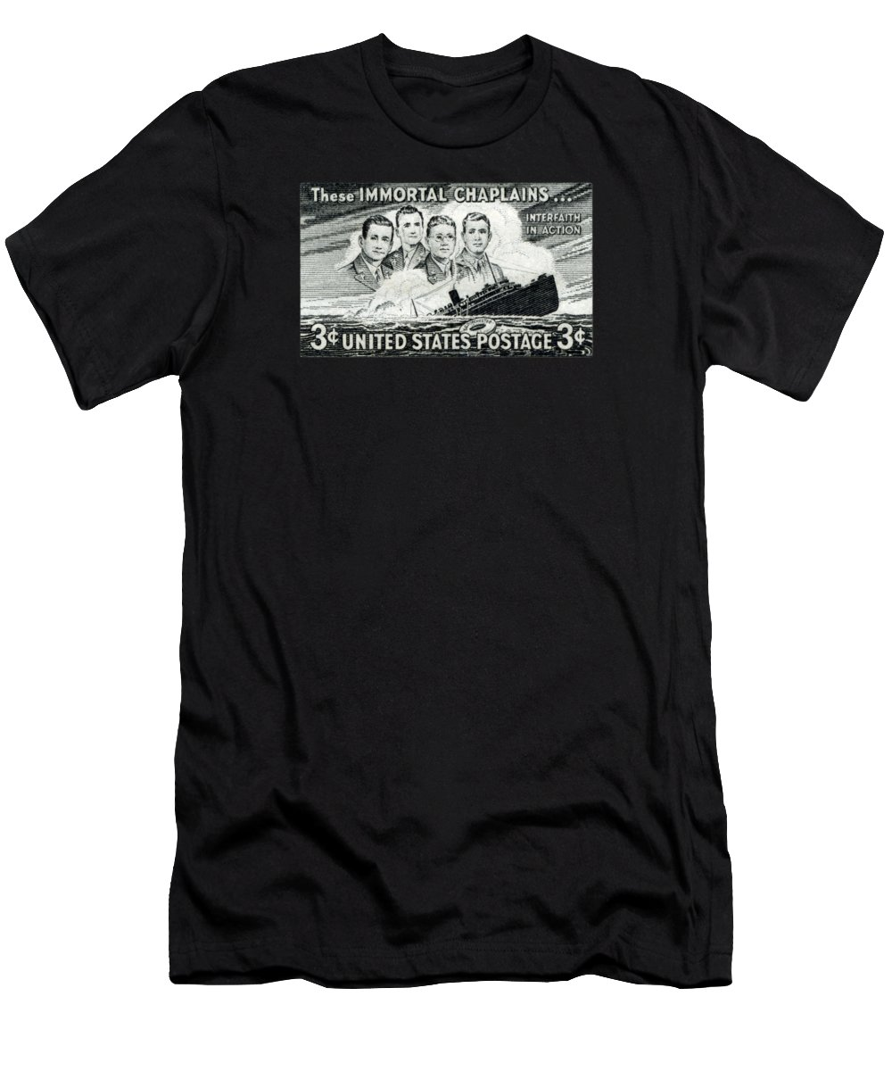 Faith Men's T-Shirt (Athletic Fit) featuring the painting 1948 Immortal Chaplains Stamp by Historic Image