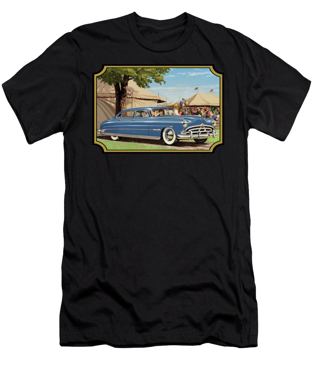 1951 Men's T-Shirt (Athletic Fit) featuring the painting 1951 Hudson Hornet Fair Americana Antique Car Auto Nostalgic Rural Country Scene Landscape Painting by Walt Curlee