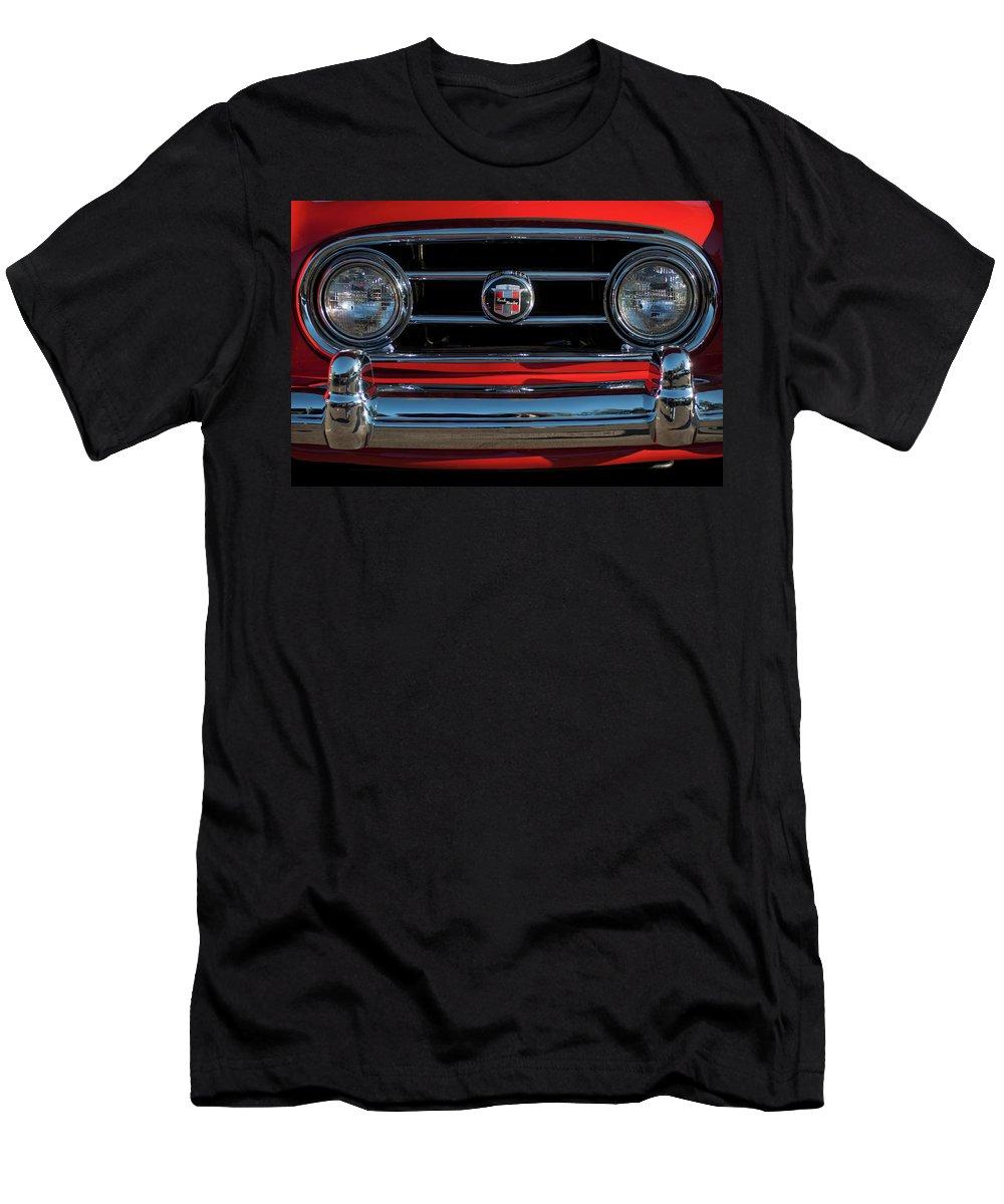 1953 Nash Healey Roadster Men's T-Shirt (Athletic Fit) featuring the photograph 1953 Nash Healey Roadster Grille by Jill Reger