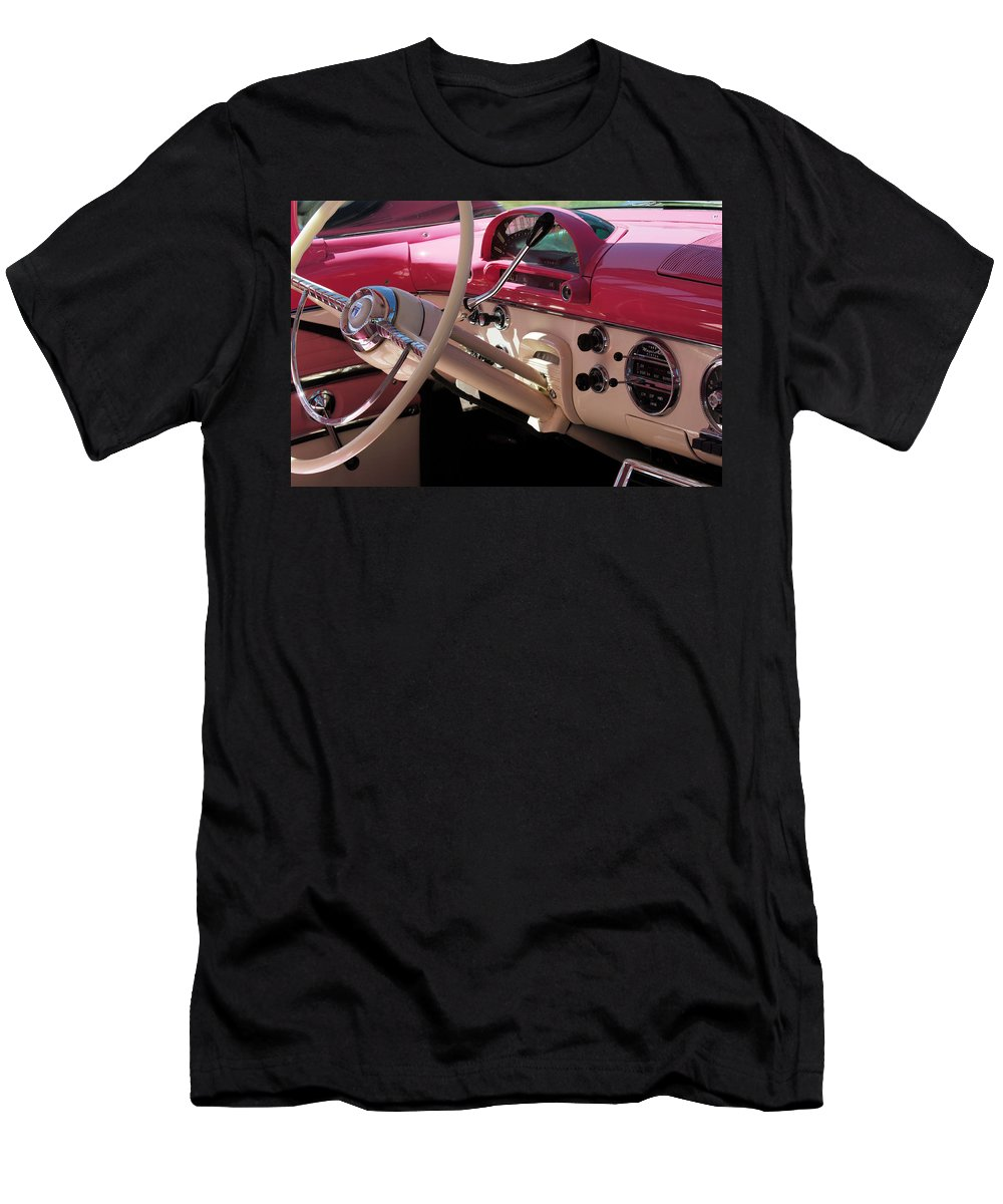 Car Men's T-Shirt (Athletic Fit) featuring the photograph 1955 Ford Crown Victoria Interior by Jill Reger