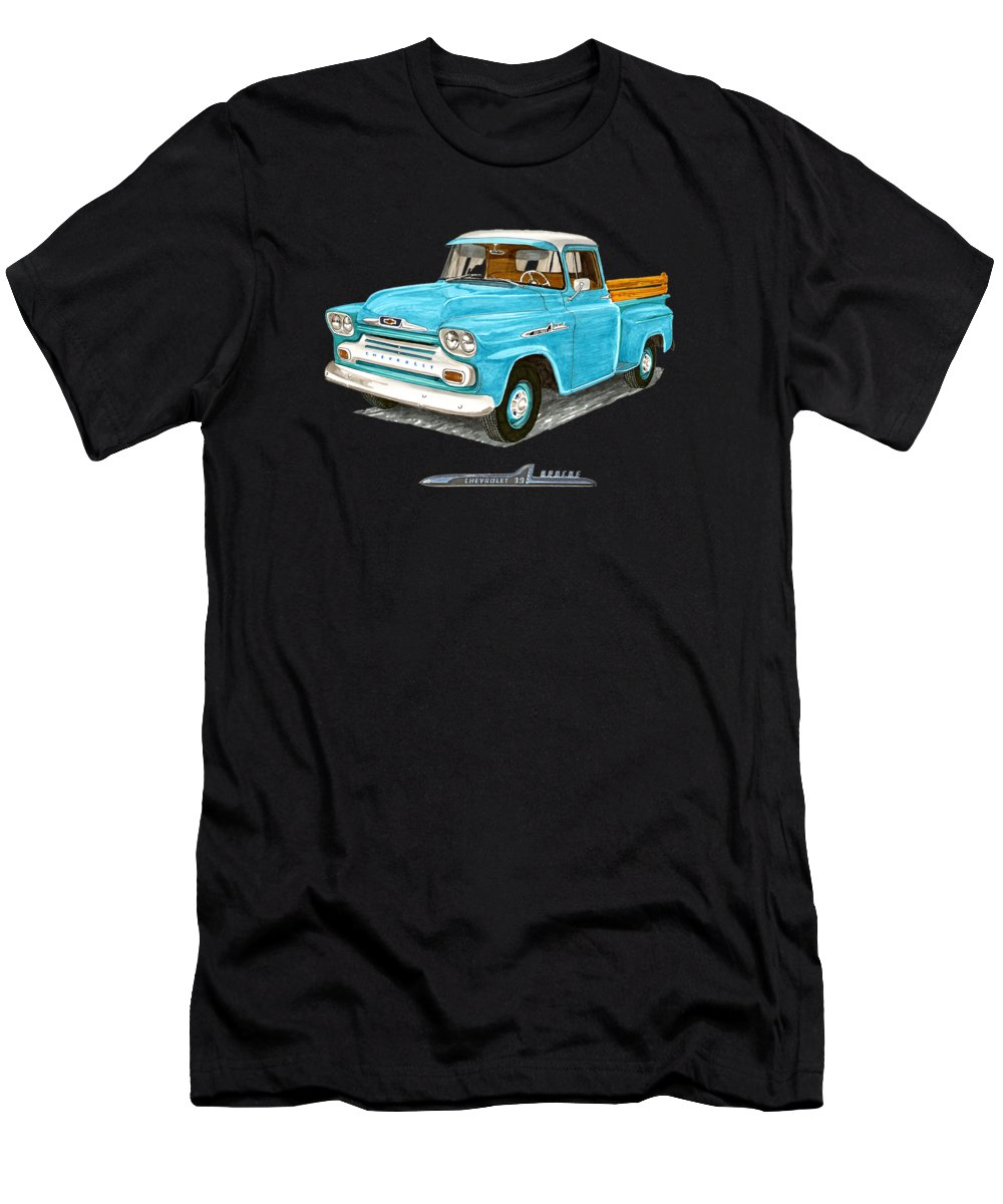 1958 Men's T-Shirt (Athletic Fit) featuring the painting Apache Pick Up Truck by Jack Pumphrey