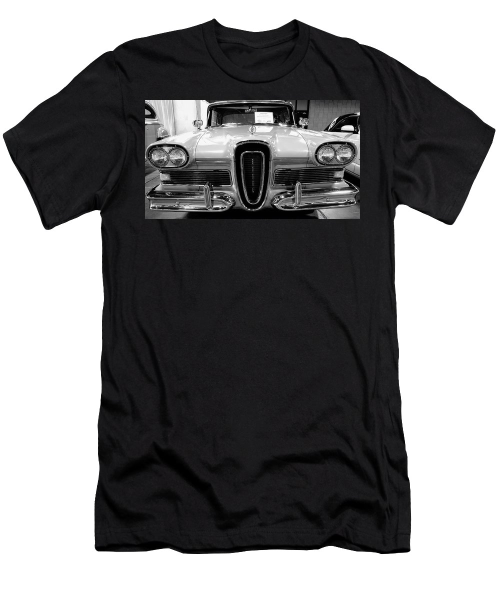 1958 Edsel Pacer Men's T-Shirt (Athletic Fit) featuring the photograph 1958 Edsel Pacer Black And White by John Straton