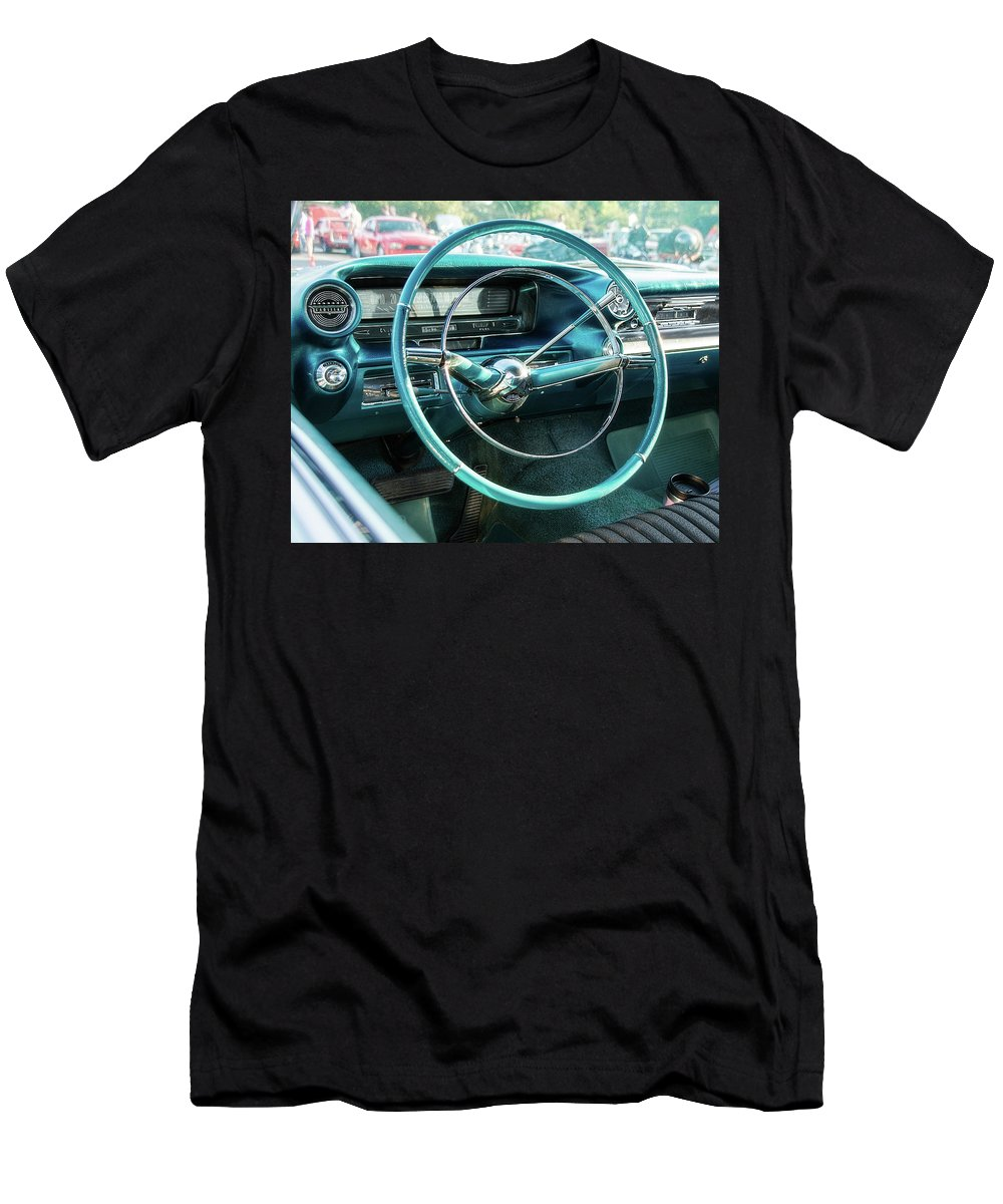 1950s Men's T-Shirt (Athletic Fit) featuring the photograph 1959 Cadillac Sedan Deville Series 62 Dashboard by Jon Woodhams