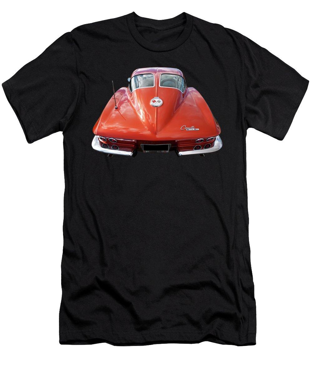 Corvette Stingray Men's T-Shirt (Athletic Fit) featuring the photograph 1963 Corvette Stingray Split Window Rear by Gill Billington