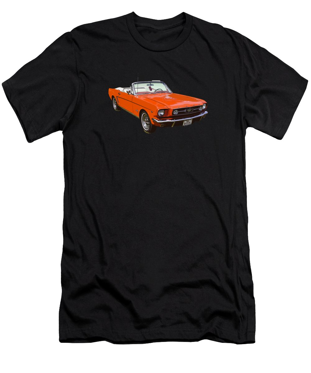 34be9ffc Mustang Men's T-Shirt (Athletic Fit) featuring the photograph 1965 Red  Convertible Ford
