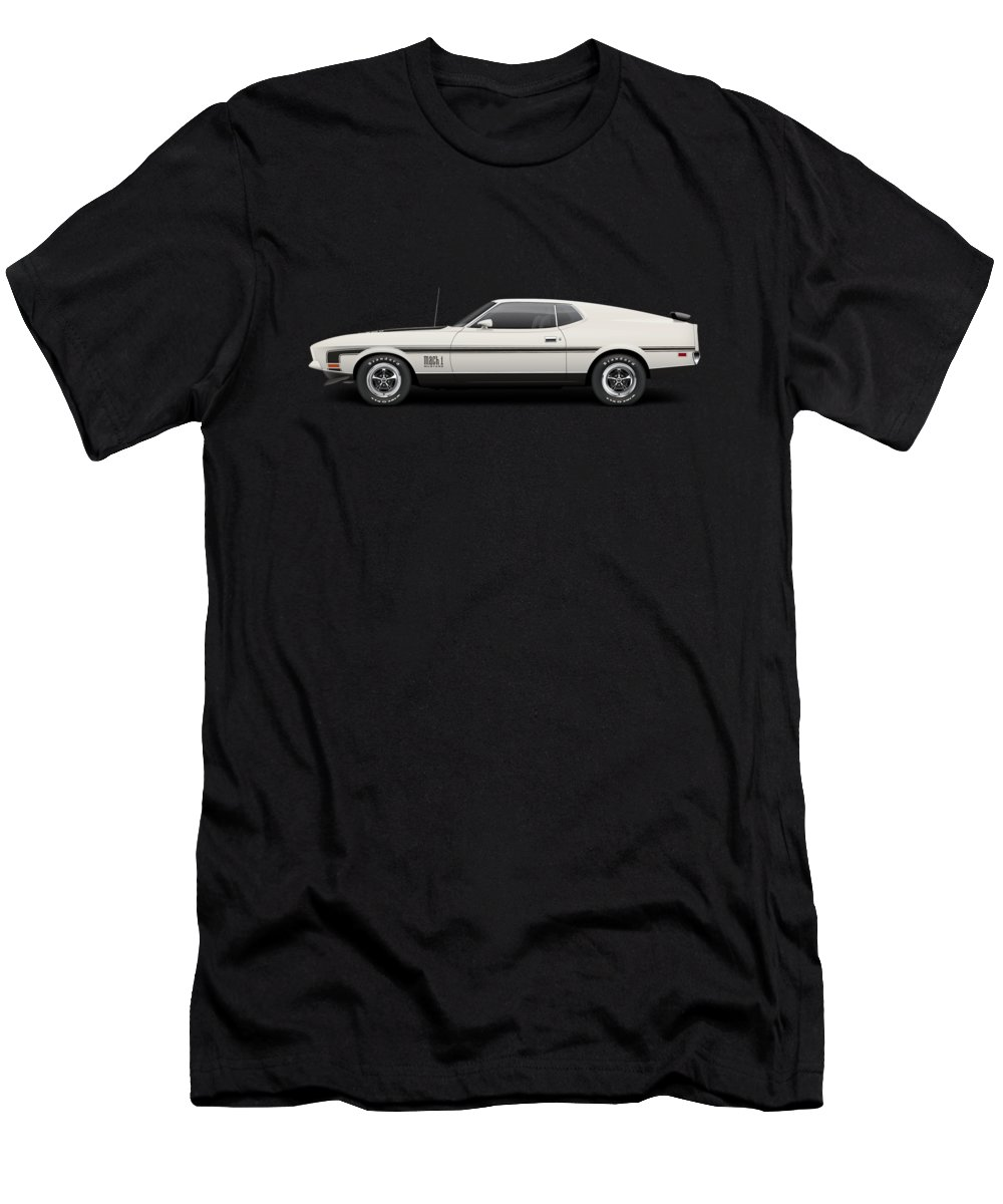 1971 Ford Mustang Mach 1 Wimbledon White T Shirt For Sale By Ed 1970 Mens Athletic Fit Featuring The Digital Art