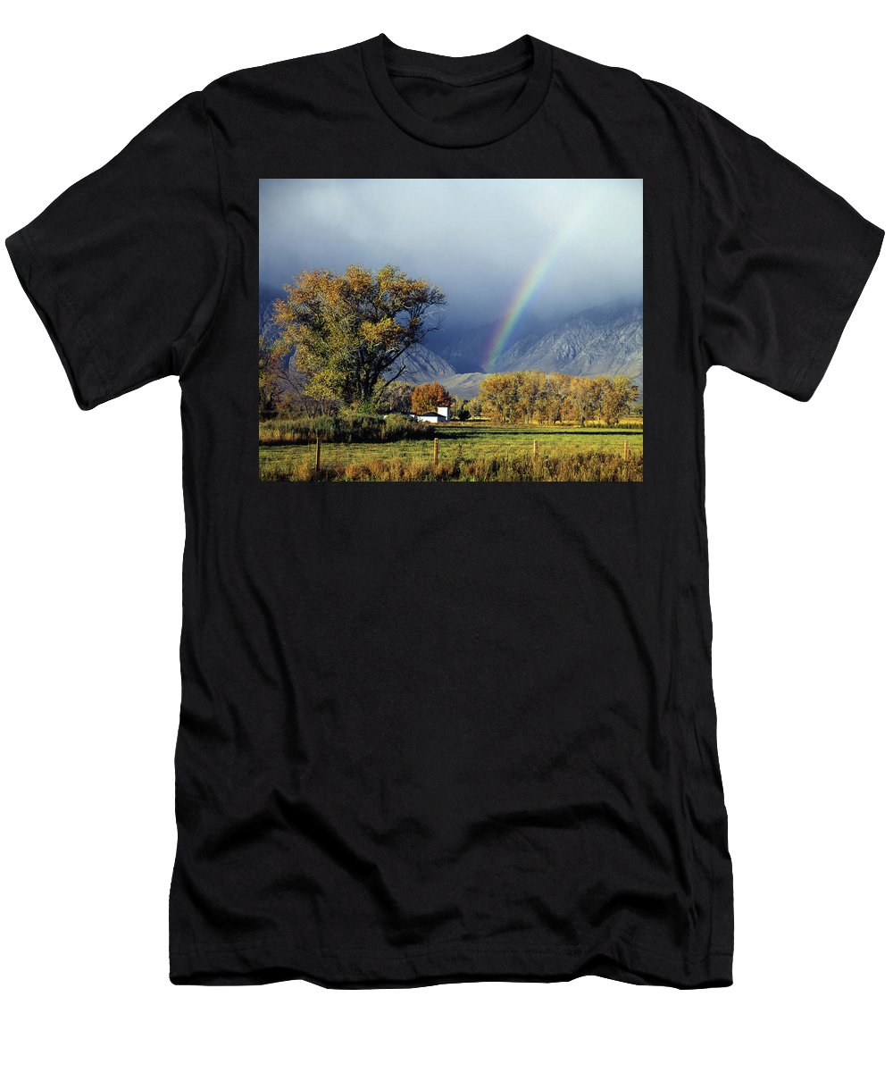 1m6345 Men's T-Shirt (Athletic Fit) featuring the photograph 1m6345 Rainbow In Sierras by Ed Cooper Photography