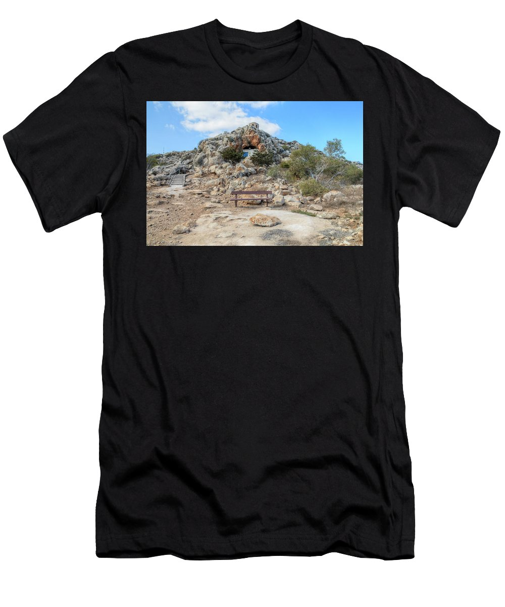 Agioi Saranta Cave Church Men's T-Shirt (Athletic Fit) featuring the photograph Agioi Saranta Cave Church - Cyprus by Joana Kruse