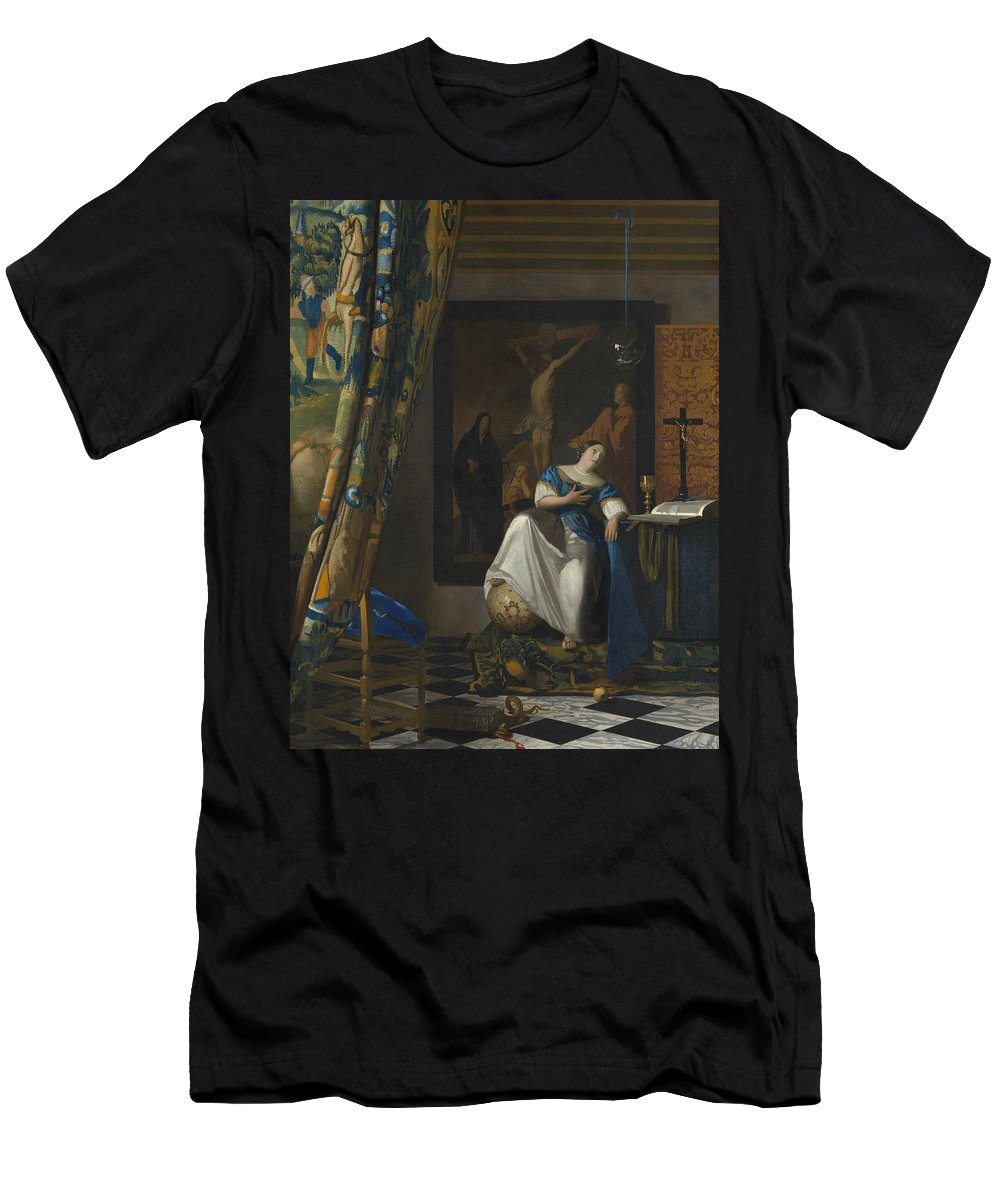 Allegory Men's T-Shirt (Athletic Fit) featuring the painting Allegory Of The Catholic Faith by Johannes Vermeer