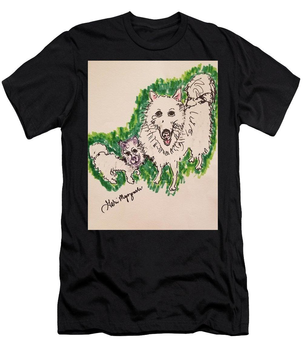 American Eskimo Dog Men's T-Shirt (Athletic Fit) featuring the drawing American Eskimo Dog by Geraldine Myszenski