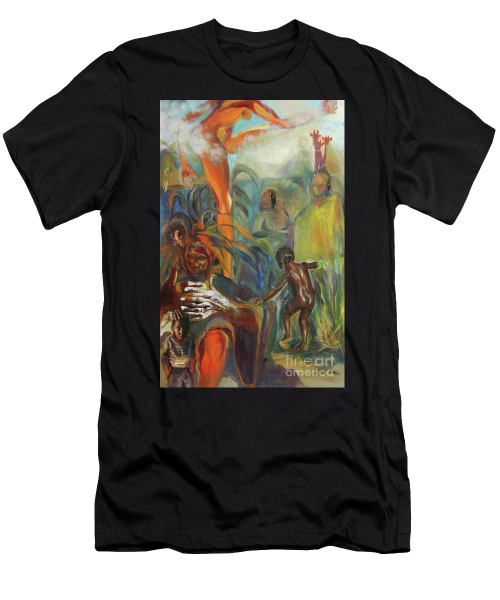 Collage Men's T-Shirt (Athletic Fit) featuring the mixed media Ancestor Dance by Daun Soden-Greene