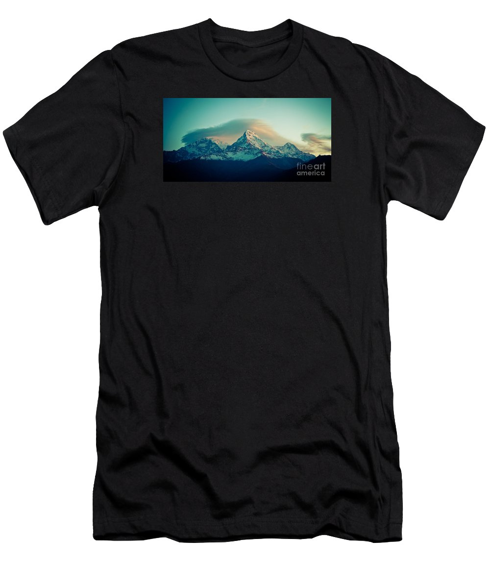 Annapurna Men's T-Shirt (Athletic Fit) featuring the photograph Annapurna South At Sunrise In Himalayas Artmif Photo Raimond Klavins by Raimond Klavins