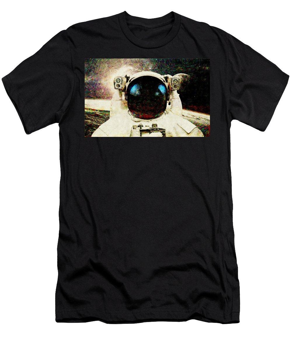 Astronaut Men's T-Shirt (Athletic Fit) featuring the digital art Astronaut by Lora Battle