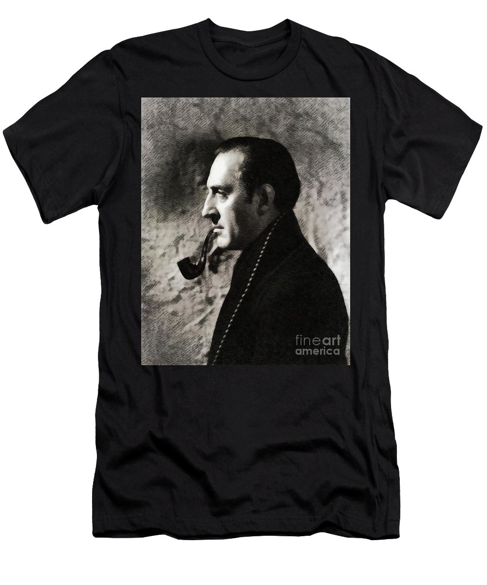Basil Men's T-Shirt (Athletic Fit) featuring the painting Basil Rathbone As Sherlock Holmes by John Springfield