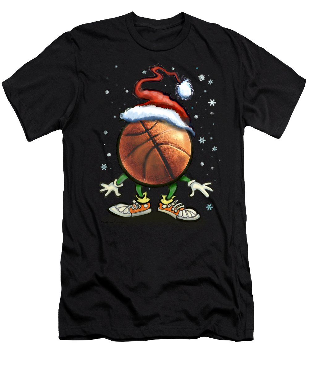 Basketball T-Shirt featuring the digital art Basketball Christmas by Kevin Middleton