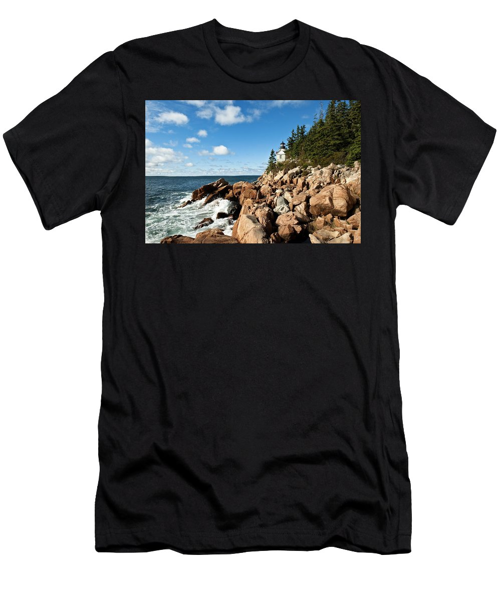 New England Men's T-Shirt (Athletic Fit) featuring the photograph Bass Harbor Light by John Greim