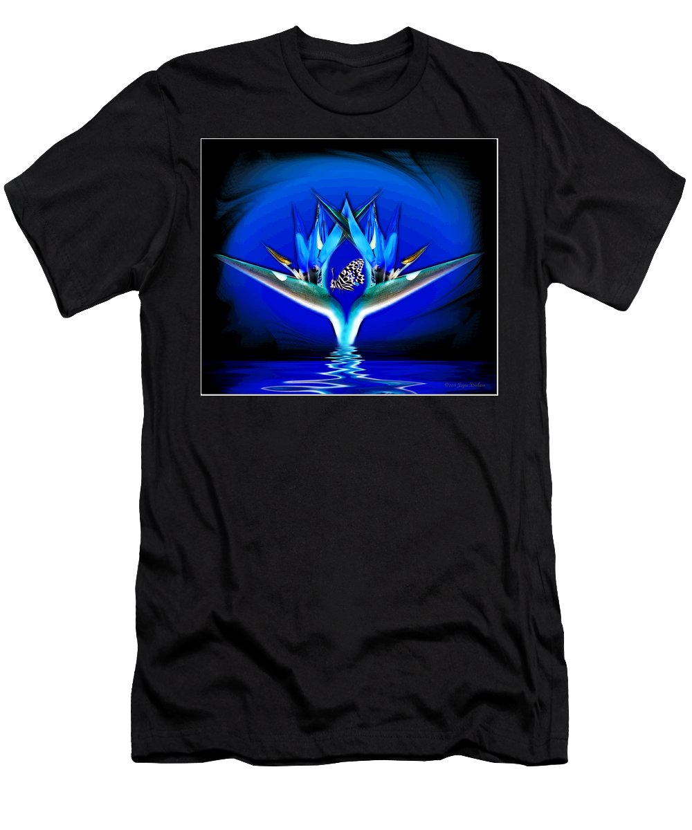 Bird Of Paradise Men's T-Shirt (Athletic Fit) featuring the photograph Blue Bird Of Paradise by Joyce Dickens