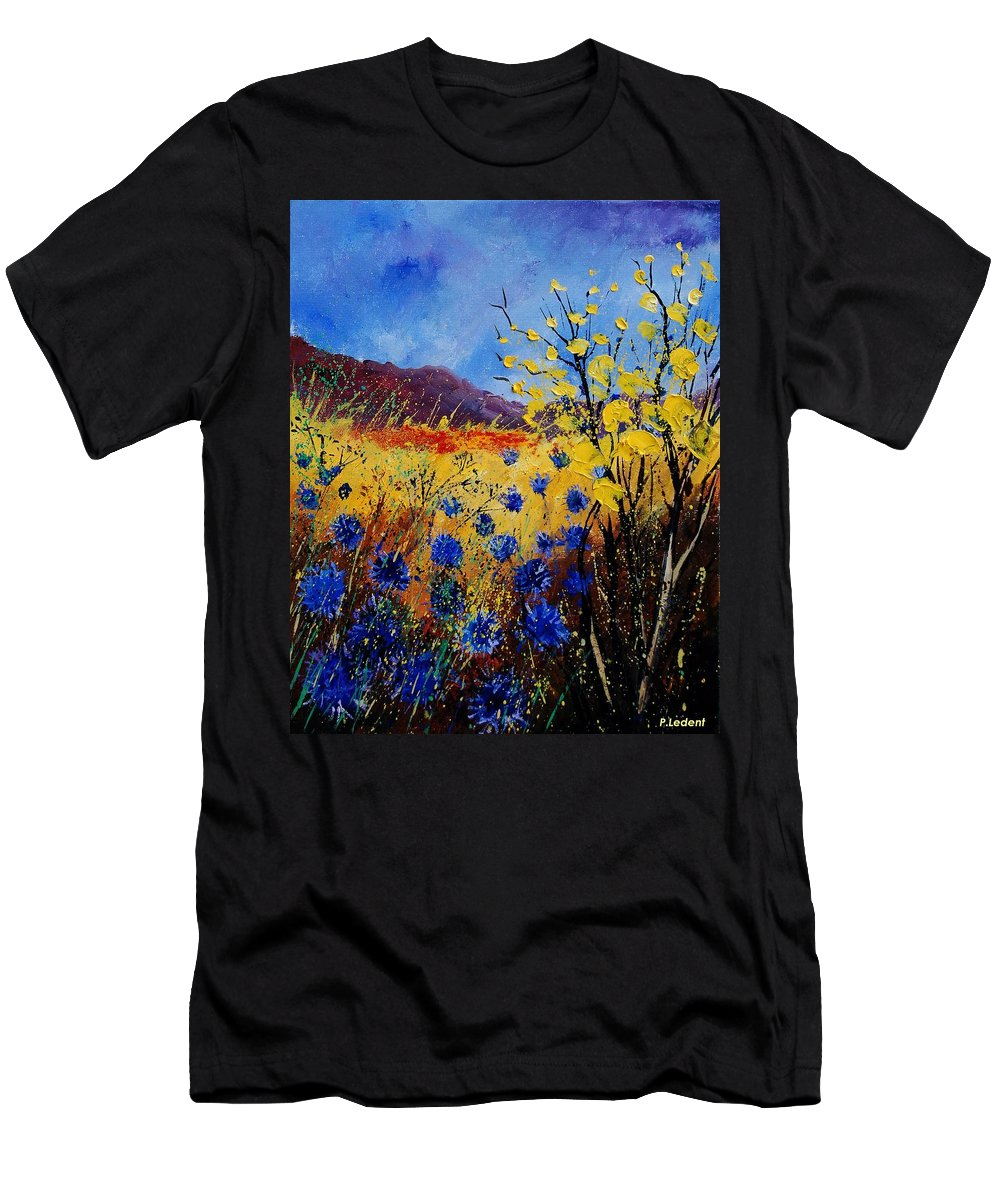 Poppies Flowers Floral Men's T-Shirt (Athletic Fit) featuring the painting Blue Cornflowers by Pol Ledent
