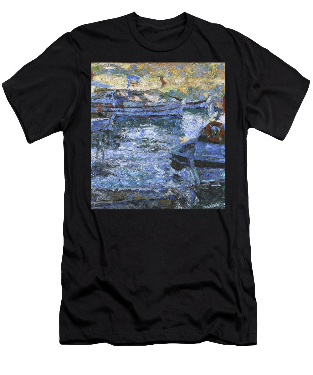 Bay Men's T-Shirt (Athletic Fit) featuring the painting Boats by Robert Nizamov
